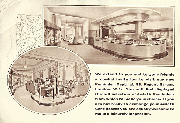 Image of Ardath Reminder Catalog 429 showing Regent Street showroom