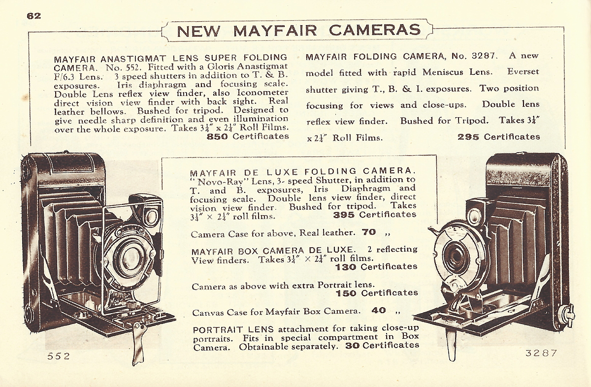 Image of Ardath Reminder Catalog 800 showing New Mayfair cameras
