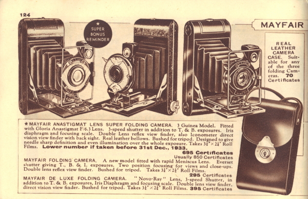 Image of Ardath Reminder Catalog 947 showing May Fair folding cameras